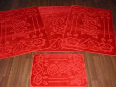ROMANY WASHABLE TRAVELLERS MATS SETS 4PCS NON SLIP GYPSY ROSE SUPER THICK RED